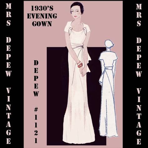 e8439ff8cc7 Vintage Sewing Pattern 1930s Evening Gown in Any Size  1121- PLUS Size  Included -
