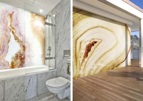 An entire wall of geode, agate or marble is a bold look–with an equally bold price tag. Thanks to the brilliant designs of Alex Turco and the incredible invention of the Waterproof Art Panel, you can splash your shower wall with this very realistic looking faux rock. From Our Blog at Design Connection, Inc. | Kansas City Interior Design http://www.designconnectioninc.com/blog #InteriorDesign