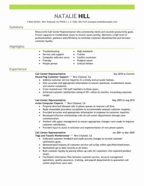 Bank Customer Service Representative Resume New Simple Call Center Representative Resume Example In 2020 Resume Examples Good Resume Examples Job Resume Samples