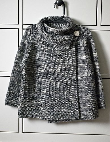 mods: i-cord loop and second button - as an optional way to keep sweater secured. (the other button is hidden under the collar at center front)  I can't wait to see what this looks like on my...