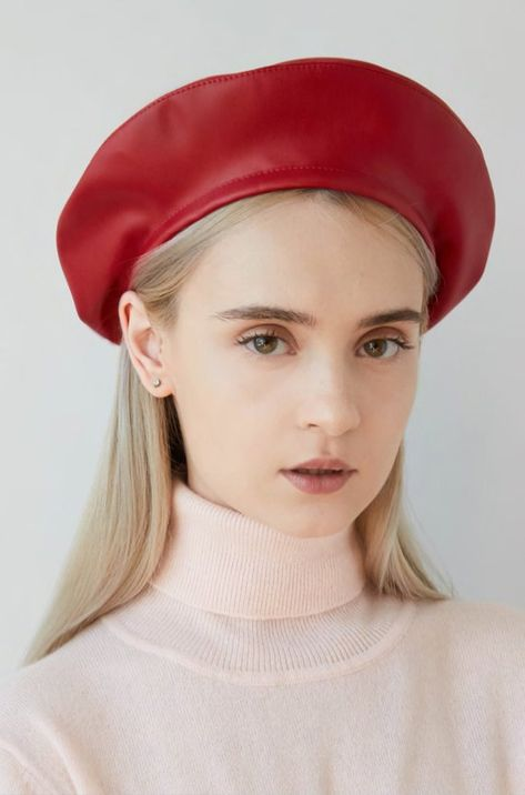 5915a33204 Beret red leather