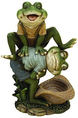 K N Outdoor Smile Frog Sculpture Art Patio Statue Yard