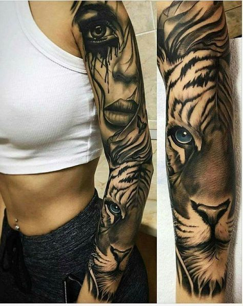 Tiger tattoo sleeve -- 50 powerful lion tattoo ideas to enhance your personality girl tattoo