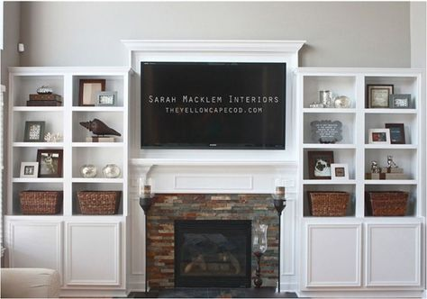 "This ""tv above mantel (yellowcapecod)"" is one of several bookcase/fireplace combinations in the post ""9 Ways to Design Around a TV."" -- Several others ideas may be found in the ""Home, Media"" board (http://www.pinterest.com/suziholler/home-media/)."