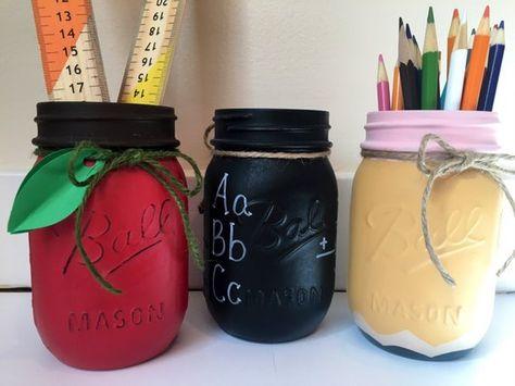 Teacher mason jar set- apple mason, chalkboard mason, pencil mason - teacher gift