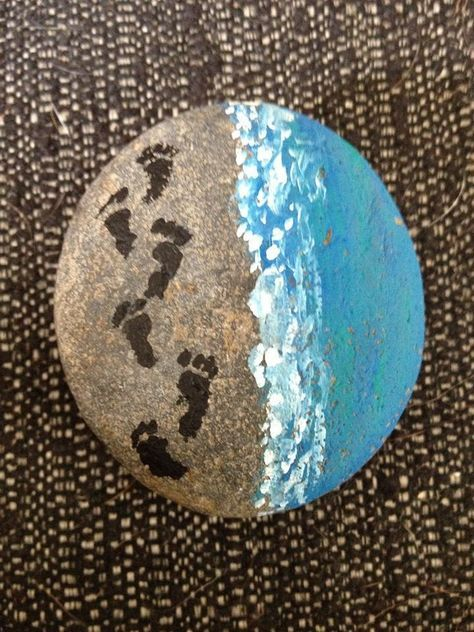 Foot Prints On The Shore Painted Rock Rock Painting Designs