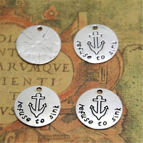 15pcs refunse to sink Charms Silver tone anchor refuse to sink pendant 20mm