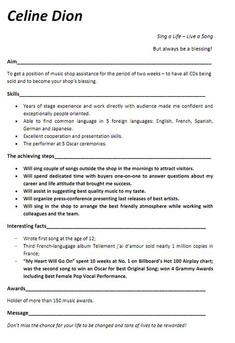 Music Resume Examples -Contact your favorite musicians free at - diesel mechanic resume example