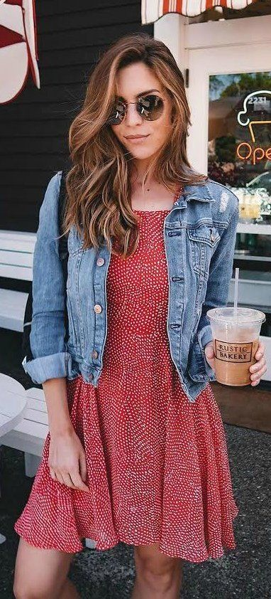 d9f420518b fall #outfits women's red mini dress and denim bolero outfit ...