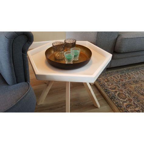 Blank Houten Bijzettafel.Bijzettafel Side Table Hout Zeshoekig Hexagon 60cm