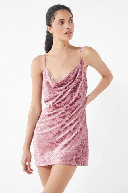 d321a1db60001 UO Burnout Velvet Cowl Neck Mini Dress   Replacing the wardrobe ...