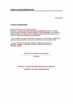 Trabajo Personal Trabajo Formato De Carta De Recomendacion Carta De Recomendacion Personal Cartas De Recomendacion Ejemplo