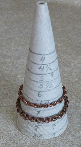 bracelet  mandrel made from a machine knitting cone