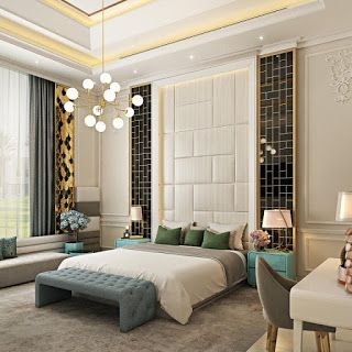 ديكور غرف نوم رئيسية 2019 فخامة واناقة غرفة نوم بيج مع الاسود والذهبي Luxury Furniture Home Egyptian Furniture