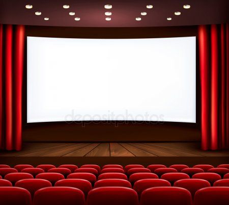 Cinema With White Screen Curtain And Seats Vector Stock