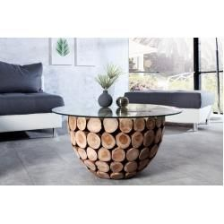 Handmade Coffee Table Pure Nature 70cm Round Teak With Glass Top Riess Ambiente 70cm Ambiente In 2020 Handmade Coffee Table Coffee Table Wood Solid Wood Coffee Table