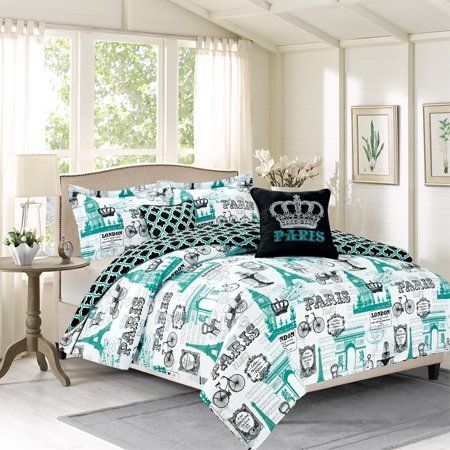 Bedding Twin 4 Piece Girls Comforter Bed Set Paris Eiffel Tower London Teal Blue With Images Girl Comforters Teal Bedding Sets Bed Comforters