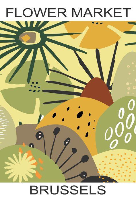 Flower Market, Poster, Abstract Art, Art Print, Home Decor Art, Wall Art, Digital Poster