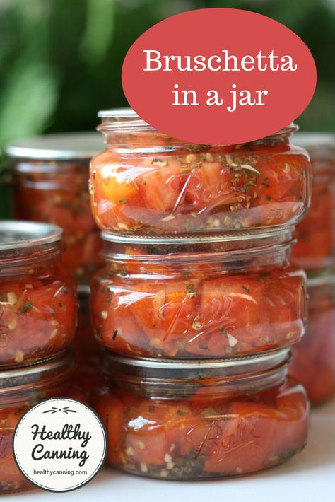 in a jar Canned Brushetta~ I love grilled bruschetta on french bread! Now I can make my own tomato brushetta!Canned Brushetta~ I love grilled bruschetta on french bread! Now I can make my own tomato brushetta! Home Canning Recipes, Canning Tips, Cooking Recipes, Healthy Recipes, Tomato Canning Recipes, Garden Tomato Recipes, Pressure Canning Recipes, Cherry Tomato Recipes, Gourmet