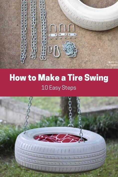 How to Make a Tire Swing in 10 Easy Steps - ToolBox Divas - How to make a simple tire swing DIY Swing upcycle outdoor projects Summer fun Kids pr - Diy Tire Swing, Tire Swings, Fun Projects For Kids, Outdoor Projects, Outdoor Ideas, Outdoor Decor, Summer Fun For Kids, Diy For Kids, Backyard For Kids