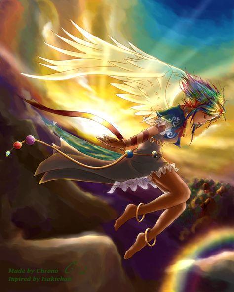 Fond d'écran ange dans le ciel avec cheveux arc en ciel (Fonds d'écran d'anges et de fées)