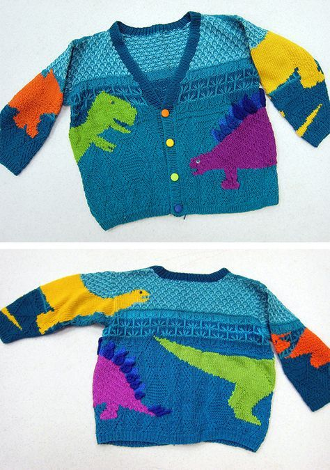 Free Knitting Pattern For Stefan S Dinosaurs Sweater Child S