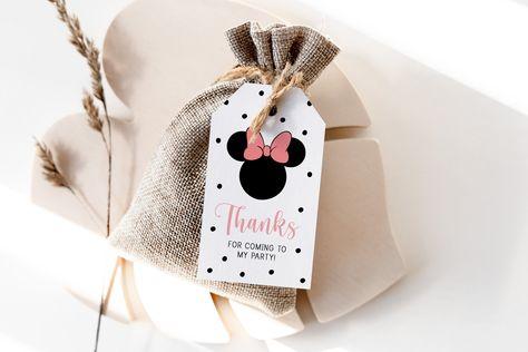 minnie mouse favor tags // thank you tag, girl birthday, girl mouse theme, modern simple, printable favor tags