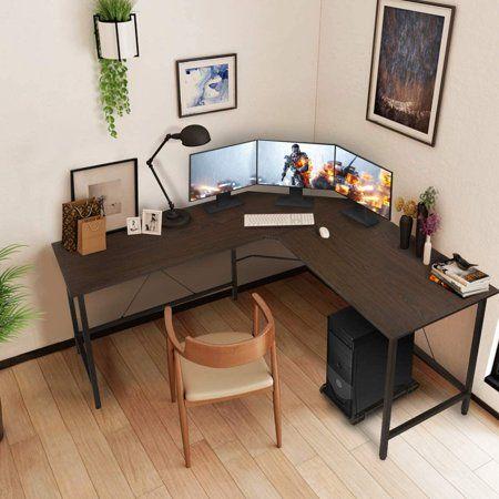 Kingso L Shaped Computer Desk 59 Inch Modern Office Gaming Writing Desks Workstation Table For Home St In 2021 Modern Corner Desk Desk In Living Room Home Office Setup
