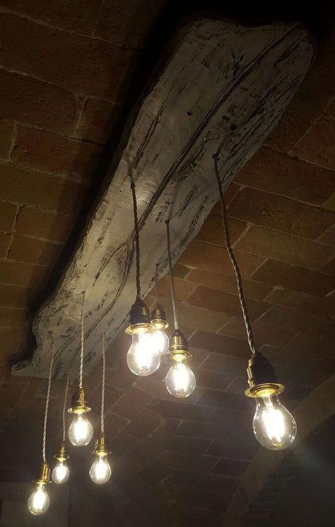 Lampadari In Legno Artigianali.Lampadario Artigianale Da Soffitto A Sospensione Legno Di