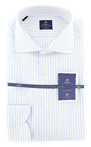 New Luigi Borrelli Blue Striped Extra Slim Shirt