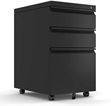 Mobile File Cabinet 3 Drawer Pedestal With Lock For Storage Use For Home Office Black Mobile File Cabinet Filing Cabinet Metal Filing Cabinet