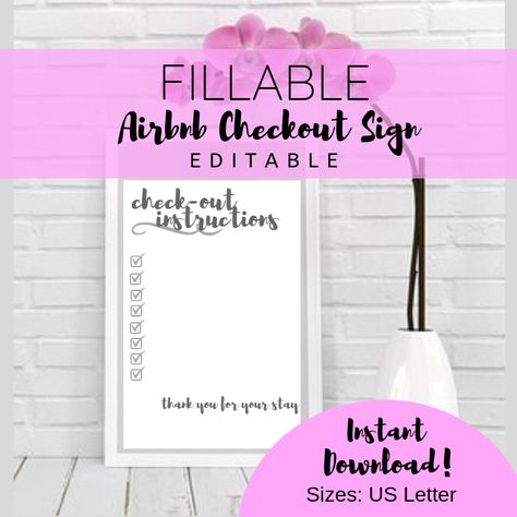 FILLABLE Airbnb Host Printables, Airbnb Signs, Editable Sign, Checkout Instructions, Airbnb Host, Bed and Breakfast Printables, Airbnb Sign
