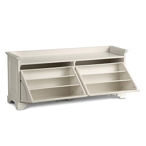 Improvements Essex Double Tilt Out Shoe Bench From Hsn 279 Approx 57 W X 24 H X 16 Deep Bench With Shoe Storage Storage Bench Seating Diy Storage Bench