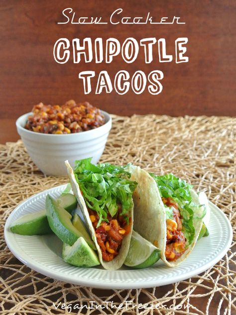 Slow Cooker Vegan Chipotle Tacos recipe is easy and has an unusual list of ingredients. You would never guess. Put them all in a crock pot and when done - Mmmm.