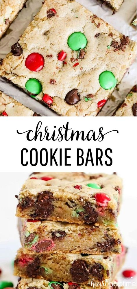 Christmas M&M Cookie Bars - Gooey, soft and fluffy cookie bars loaded with M&M's and chocolate chips. So easy to make and perfect for a cookie exchange or holiday party! #cookies #cookierecipes #cookiedough #christmas #christmasrecipes #christmascookies #baking #recipes #iheartnaptime #christmasm