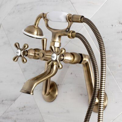 Kingston Brass Kingston Triple Handle Wall Mounted Clawfoot Tub Faucet Trim With Diverter And Handshower In 2021 Clawfoot Tub Clawfoot Tub Faucet Freestanding Tub Faucet