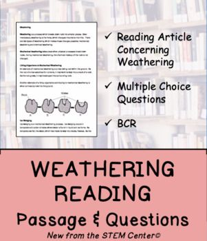 Weatheringthis Activity Is Designed To Explain And Review Weathering After A Reading Passage There Are Three Reading Passages Choice Questions Science Bundle