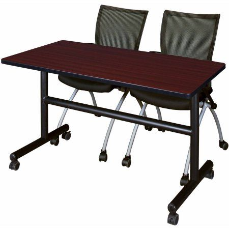 Kobe 48 inch Flip Top Mobile Training Table and 2 Black Apprentice