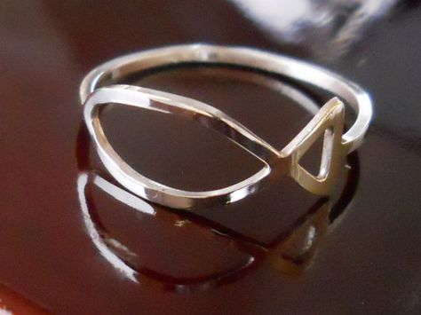 Silver Ring-Sterling Silver Ring- Ichthus Ring- Fish Ring- Christian Symbol Ring