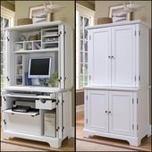Naples Compact Computer Cabinet with Hutch by Home Styles, White Computer Armoires -