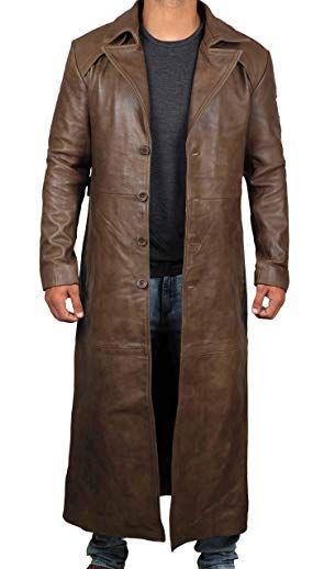 Decrum Brown Trench Coat Men 100 Real Leather Long Overcoat Review Trench Coat Men Long Coat Men Long Coat Jacket