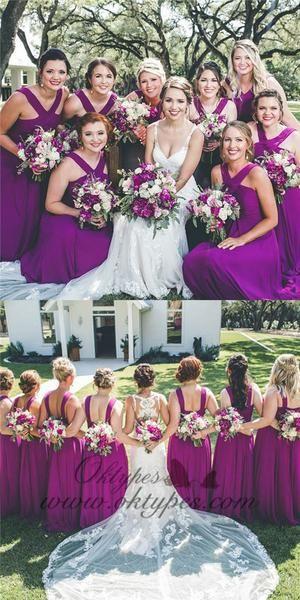 A Line Cross Neck Long Cheap Purple Chiffon Bridesmaid Dresses