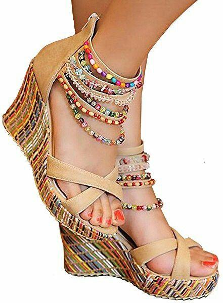6dbf302840c1c Women's Wedge Sandals Pearls Across The Top Platform High Heels ...