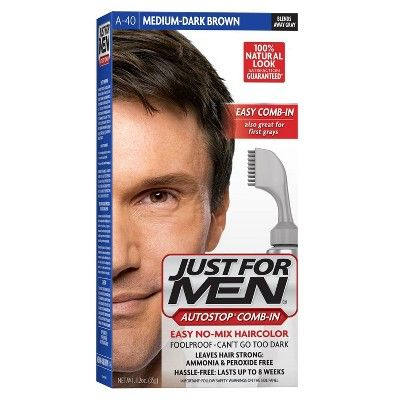 Just For Men Easy Combin Color Gray Hair Coloring For Men With Comb Applicator Dark Brown A40 Men Hair Color Hair Color Mens Hair Colour