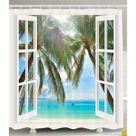 Ocean Decor Shower Curtain By Ambesonne Palm Trees Tropical