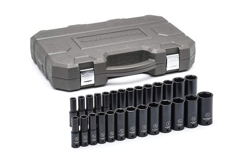 Gearwrench 84949n 27 Pc 1 2 Drive 6 Point Deep Impact Sae Metric Socket Set Black Check Out The Image By Vi Socket Set Impact Socket Set Metric Socket Set
