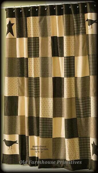 Sc3 Primitive Kettle Grove Collection Shower Curtain With Images Primitive Bathrooms Primitive Shower Curtains Primitive Bathroom Decor