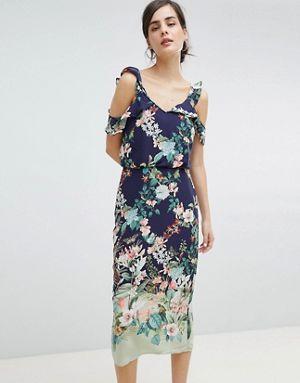 Oasis Fitzwilliam Cold Shoulder Floral Print Midi Dress Printed Midi Dress Floral Print Midi Dress Oasis Dress