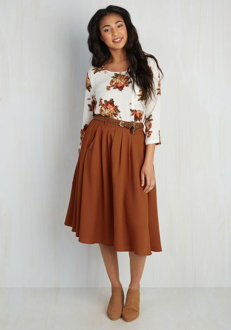 Breathtaking Tiger Lilies Midi Skirt in Orange. This morning, a bundle of bright flowers was waiting at your door. #orange #modcloth