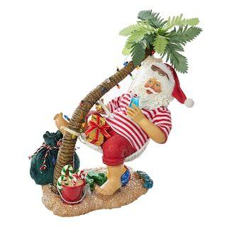 2 Piece Beach Santa Set Decorating With Christmas Lights